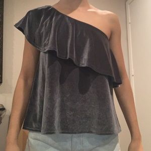 One shouldered velvet top